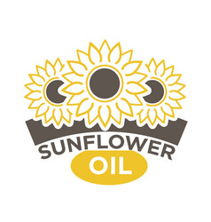 sunflower oil label with yellow flower with black vector image