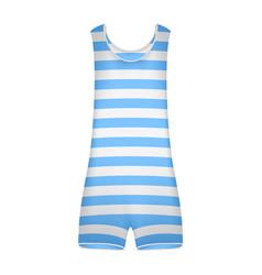 Striped retro swimsuit in blue and white design vector