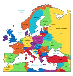 Multicolored map of europe vector