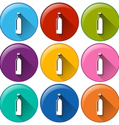 Rounded buttons with bottles vector