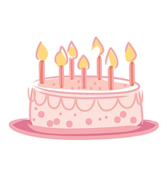 Candles on cake pink color vector