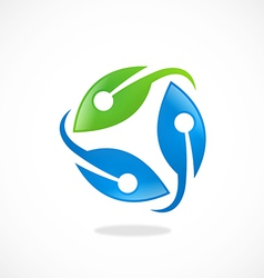 Recycle technology leaf logo vector