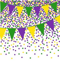 Mardi gras bunting background with confetti vector