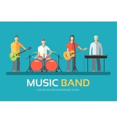 Music band in flat design background concept vector
