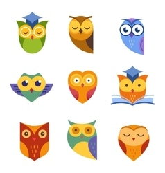 Owl outline icons collection vector