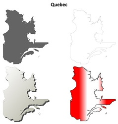Quebec blank outline map set vector