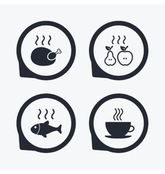 Hot food icons grill chicken and fish symbols vector
