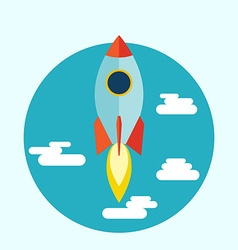 Starup Rocket with Fire Flat design vector image
