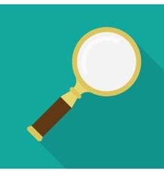Golden magnifying glass vector