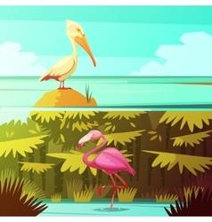 Tropical birds horizantal retro banners set vector