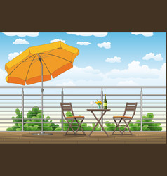 A balcony a terrace with tables and chairs vector