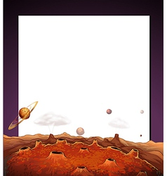 A paper template with a view of the outerspace at vector