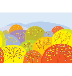 Autumn trees seamless banner vector