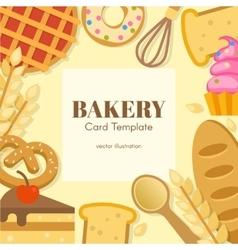 Bakery flat card template vector