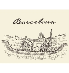 Barcelona spain drawn sketch vector