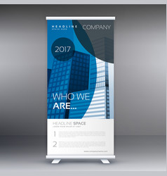 blue circle style roll up standee banner design vector image vector image