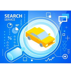 bright glass search and car on blue backgrou vector image vector image