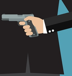 Businessman holding a gun behind his back vector
