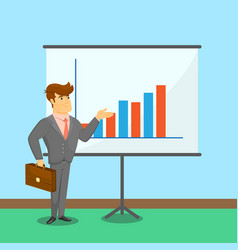 Businessman near board with financial diagram vector