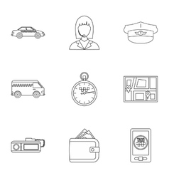 Call taxi icons set outline style vector