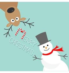 Cartoon snowman and deer blue background candy vector