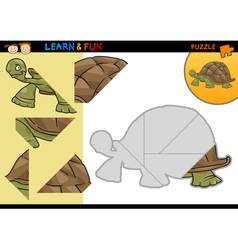Cartoon turtle puzzle game vector image
