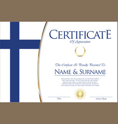 certificate or diploma finland flag design vector image vector image