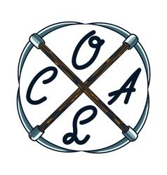 Color vintage coal mining emblem vector