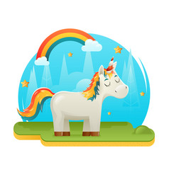 cute cartoon unicorn fantasy animal sweet dream vector image
