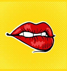 female lips pop art style vector image