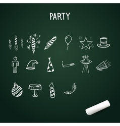 Group of hand-drawn party icons doodle vector image vector image