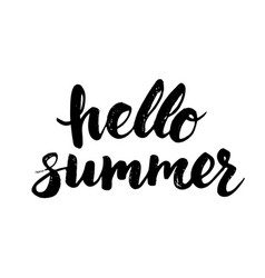 Hello summer card with hand drawn brush lettering vector