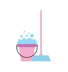 House broom with bucket vector