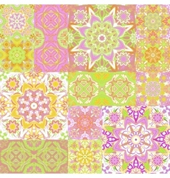 Large set of colorful vintage ceramic tiles with vector image
