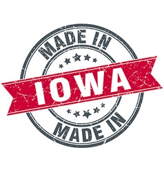 Made in iowa red round vintage stamp vector