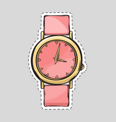 Pink watch cut it out isolated fashionable thing vector