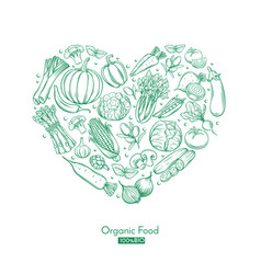 poster with hand drawn vegetables vector image vector image