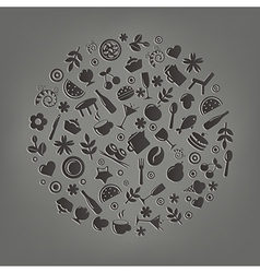Restaurant Icons In Form Of Sphere vector image