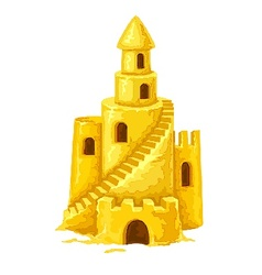Sand castle with towers vector image