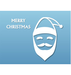 santa claus hat and beard on blue background vector image vector image