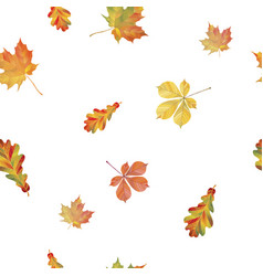 Seamless pattern with different autumn leaves vector