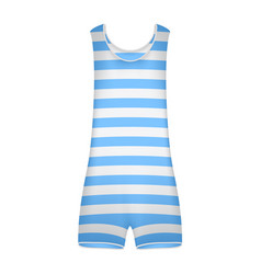 Striped retro swimsuit in blue and white design vector