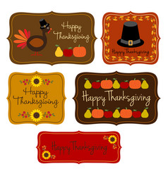 Thanksgiving labels clipart vector