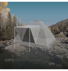 Travelling background with tent icon vector