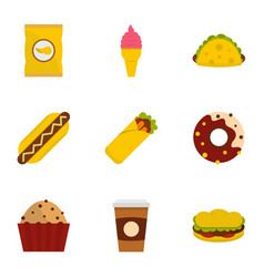 Unhealthy food icon set flat style vector