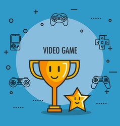 Video game trophy and star award button icons vector