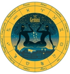 Gemini with the signs of the zodiac vector image