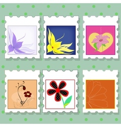 Postage stamps with flowers vector