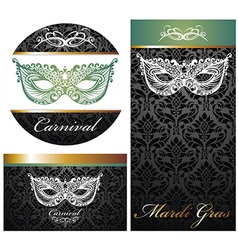 Masquerade ball party invitation posters vector image