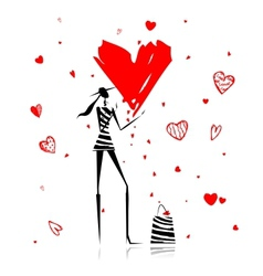 Valentine day fashion girl with big red heart vector